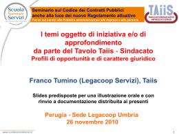 Taiis, a seminario su appalti Legacoop Umbria