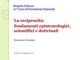 La reciprocità: fondamenti epistemologici