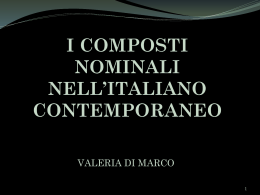 I composti nominali nell`italiano contemporaneo