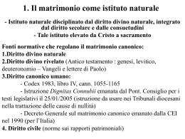 1. Il matrimonio come istituto naturale