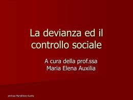 La devianza ed il controllo sociale