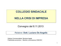 Relatore: Dott. Luciano De Angelis