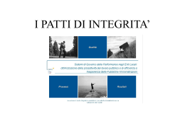 I PATTI DI INTEGRITA`