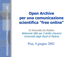 "Open Archive per una comunicazione scientifica ""free online"""