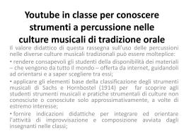 Venezia Youtube in classe per conoscere strumenti a percussione