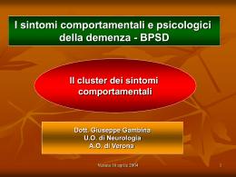 I sintomi comportamentali e psicologici della demenza