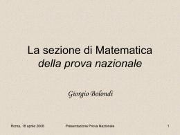 La sezione di Matematica nella prova nazionale