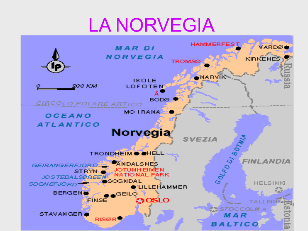 Norvegia Cartina Stradale.La Norvegia