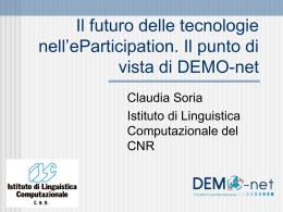 Il futuro delle tecnologie nell`eParticipation. Il punto di vista di DEMO