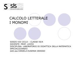 CALCOLO LETTERALE I MONOMI