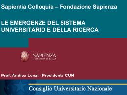 Le emergenze del sistema universitario e della ricerca