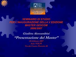 Presentazione del Master