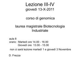 Lez3-4_Genomica_13-X-11 - Università degli Studi di Roma Tor