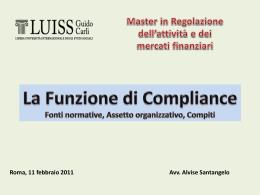 Compliance - Regolazione dell`attività e dei mercati finanziari