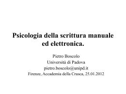 Lezione di Pietro Boscolo: Psicologia della scrittura manuale ed