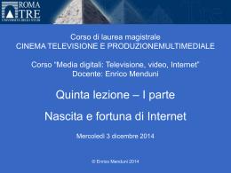 Media digitali 2014-15 Lezione 6, Parte I