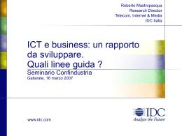 ICT e Business: un rapporto da sviluppare. Quali
