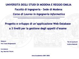 UNIVERSITÀ DEGLI STUDI DI MODENA E REGGIO EMILIA Facoltà