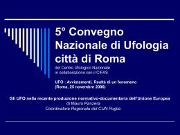 5° Convegno Nazionale di Ufologia città di Roma del Centro