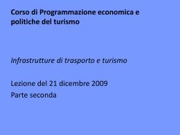 Corso di Programmazione economica e politiche del