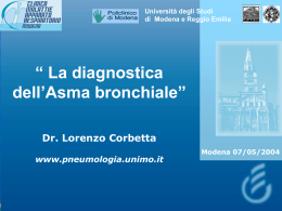 La diagnostica dell`asma bronchiale