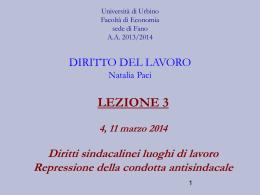 DIRITTO SINDACALE - Università di Urbino