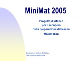 Presentazione - Dipartimento di Matematica