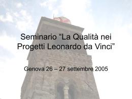 La Qualità nei Progetti `Leonardo da Vinci`