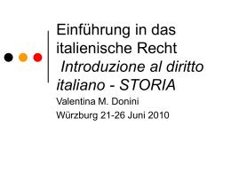 Einführung auf der italienischer Recht Introduzione al diritto italiano