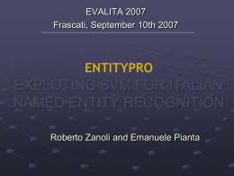 Exploiting SVM for Italian Named Entity Recognition