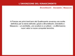L`INVENZIONE DEL RINASCIMENTO Brunelleschi