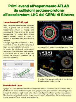 Primi eventi all`esperimento ATLAS da collisioni protone