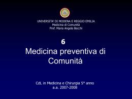Medicina Preventiva - Facoltà di Medicina e Chirurgia