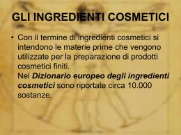 gli ingredienti cosmetici