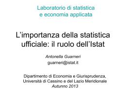 Il ruolo dell`Istat - Università degli Studi di Cassino