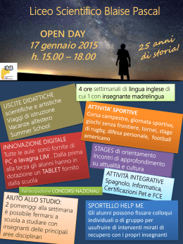 Liceo Pascal, Openday 17 gennaio