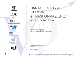 La filiera della carta, editoria, stampa e trasformazione