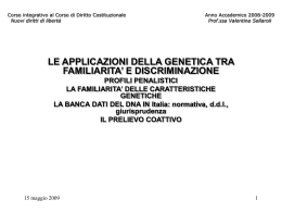 Le applicazioni della genetica - profili penalistici