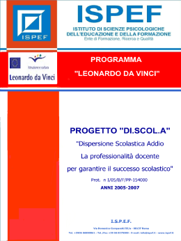 "Presentazione - DI.SCOL.A. ""Dispersione Scolastica Addio"""