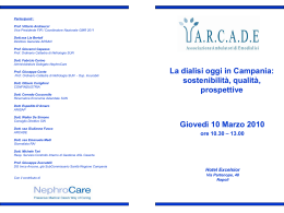 Diapositiva 1 - ARCADE Associazione Ambulatori di Emodialisi