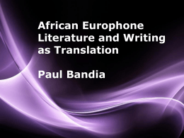 Paul Bandia in translation