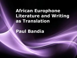 Paul Bandia in translation