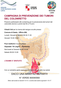 locandina Screening Tumori colonretto