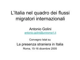 L`Italia nel quadro dei flussi migratori internazionali Antonio