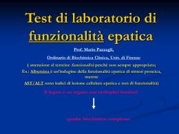 Test di laboratorio di funzionalità epatica