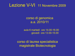 Lez_5-6_Genomic_11-11-10 - Università degli Studi di Roma