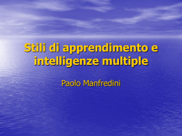 Stili di apprendimento e intelligenze multiple