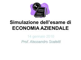 Simulazione dell`esame di ECONOMIA AZIENDALE