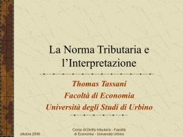 La Norma Tributaria - Università di Urbino