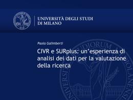 CIVR e SURplus: un`esperienza di analisi dei dati